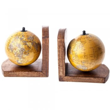 Pair of Vintage Style Spinning Globes Sturdy Bookends