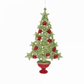 Gisela Graham Glitter Star Christmas Tree Hanging Tree Decoration
