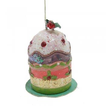 Gisela Graham Resin Christmas Cake on a Plate Christmas Tree Decoration