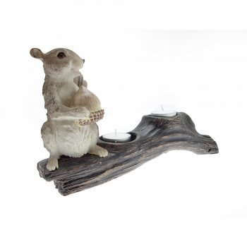 Squirrel Sitting On A Branch Holding An Acorn Tealight Holder