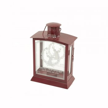 Heaven Sends Small Red Metal & Glass Storm Lantern with Reindeer & Merry Christmas Etched Glass