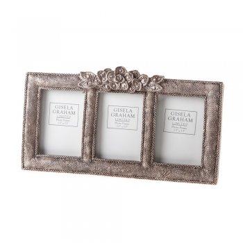 Gisela Graham Vintage Chic Antique Silver Rose Triple Photo Frame