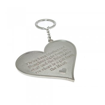 "Love The Links ""We've Been Mother & Daughter Right From The Start & The Friendship We Share Is A Gift From The Heart"" Metal Heart Keyring"