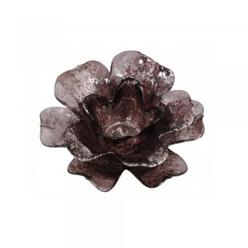 Copper Open Daffodil Flower Glass Tealight Holder