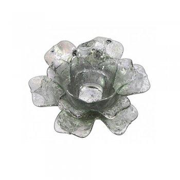 Silver Open Daffodil Flower Glass Tealight Holder