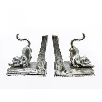 Libra Pair of Silvered Curious Cat On An Open Book Bookends