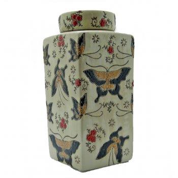 Mandarin Arts Oriental Square Textured Butterfly Lidded Tea Caddy Jar
