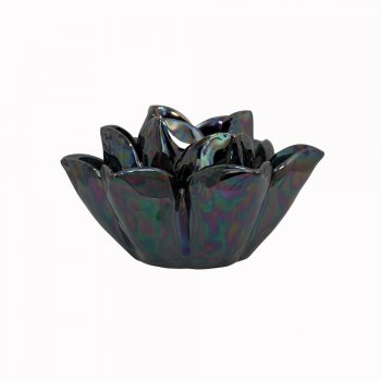 Black Lustre Open Rose Flower Tealight  Holder