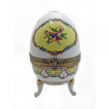 White Porcelain Faberge Style Easter Egg Ornament