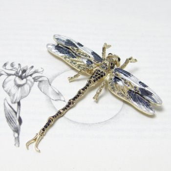 Swarovski Crystal Black & Grey Long-Tail Dragonfly Brooch