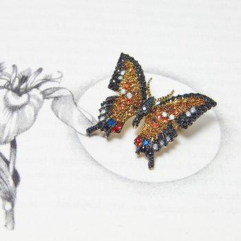 Small Swarovski Crystal Amber & Black Butterfly Brooch