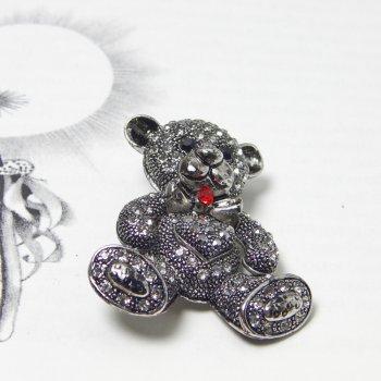Swarovski Crystal Black Sweetheart Teddy Bear Brooch
