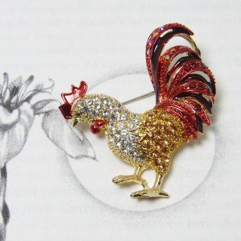 Swarovski Crystal Red & Gold Rooster Brooch