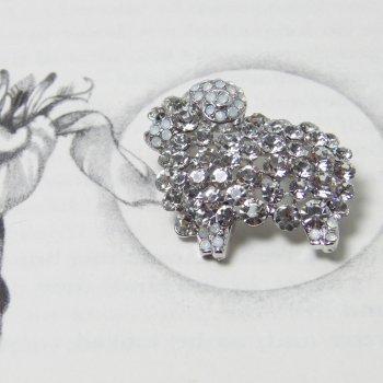 Swarovski Crystal Clear & AB Sheep Brooch Pendant