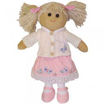 Powell Craft 40cm Rag Doll with Pink Dress & White Cardigan