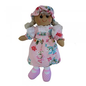 Powell Craft 40cm Rag Doll with a Pink Floral Dress & Mop Cap