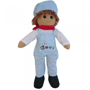 Powell Craft 40cm Train Driver Boy Rag Doll with Dungarees