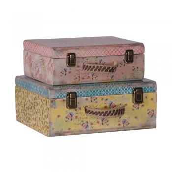 Set of 2 Vintage Floral Pattern Storage Suitcases