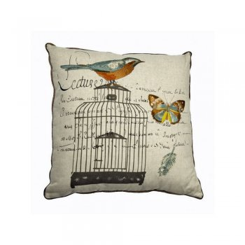 Heaven Sends 45cm Embroidered Bird Cage Design Scatter Cushion