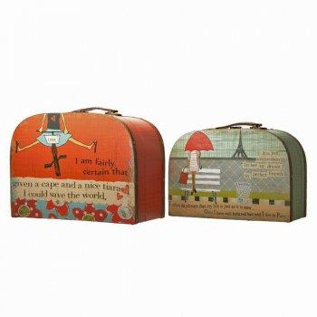 Heaven Sends Set of 2 Funky Vintage Canvas Wooden Storage Suitcase Boxes