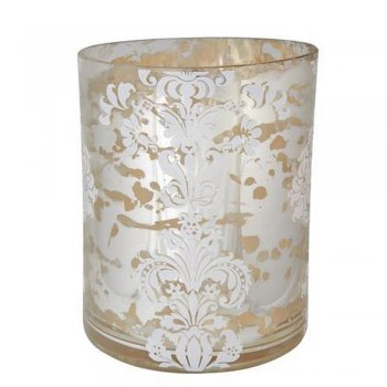 Gisela Graham 15cm Silver Damask Print Mercury Style Glass Style Tealight Lantern