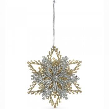 Gisela Graham Silver & Gold Glitter Acrylic Layered Snowflake Christmas Tree Decoration