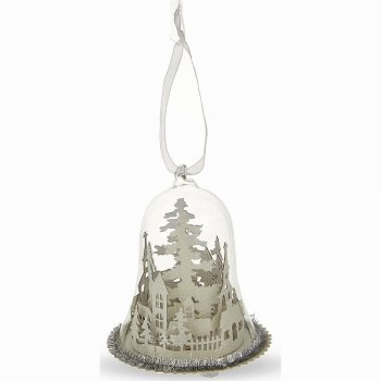 Gisela Graham White Glitter LED Winter Scene Glass Dome Christmas Tree Decoration