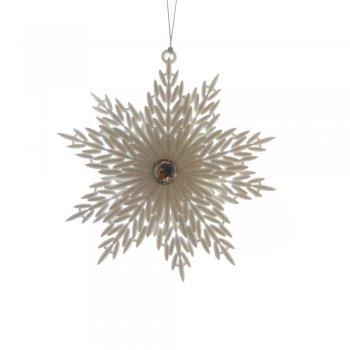 Gisela Graham White Glitter Acrylic Snowflake Christmas Tree Decoration