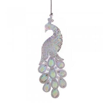 Gisela Graham Clear Rainbow Acrylic Peacock Christmas Tree Decoration