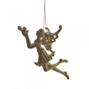 Gisela Graham Gold Glitter Acrylic Fairy Christmas Tree Decoration