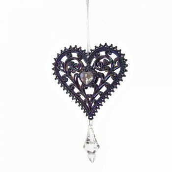 Gisela Graham Peacock Shades Filigree Heart with Jewel Christmas Tree Decoration