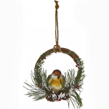 Gisela Graham Glass Robin in a Twig Ring Christmas Tree Decoration