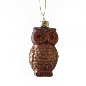 Gisela Graham Painted Brown Owl Glass Christmas Tree Decoration