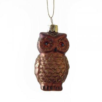 Gisela Graham Painted Brown Owl Glass Christmas Tree Decoration