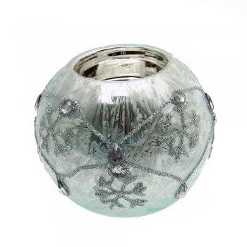 Gisela Graham Frozen Blue Damask Jewel Ball Tealight Holder