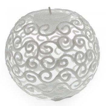 Gisela Graham Clear Filigree Glitter Glass Ball Tealight