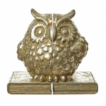 Heaven Sends Soft Silver Coloured Owl Sitting on a Book Pair of Bookends