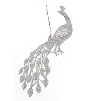 Gisela Graham Pale Silver Glitter Peacock Christmas Tree Decoration