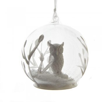 Gisela Graham White Winter Owl Glass Dome Christmas Tree Decoration