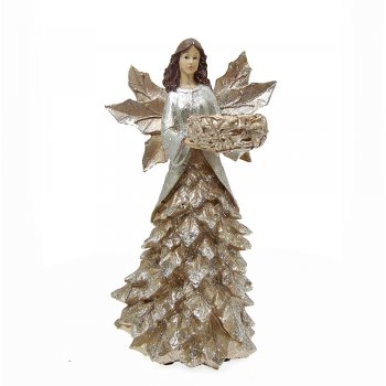 Willow Brooks Secret Christmas Silver & Gold Holly Angel with Candle Holder