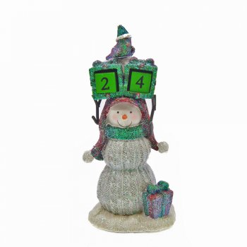 Willow Brooks Secret Christmas Snowman Holding A Countdown to Christmas Calendar