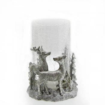 Willow Brooks Secret Christmas Silver Reindeer in Woodland Christmas Candle Holder