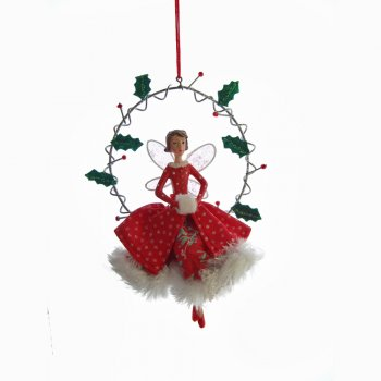 Gisela Graham Vintage Fairy in a Ring Wearing a Green Spotted Skirt Christmas Tree Decoration