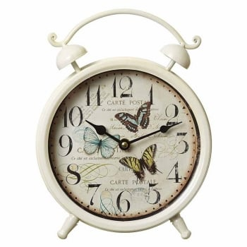 Vintage Style Shabby Chic Metal Butterfly Mantle Clock