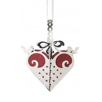 Jette Frolich Design Sterling Silver Heart Mobile Hanging Decoration