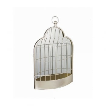Vintage Chic Gold Metal Birdcage Wall Mirror