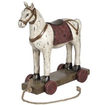 Woodcut Style Horse on Wheels Ornament