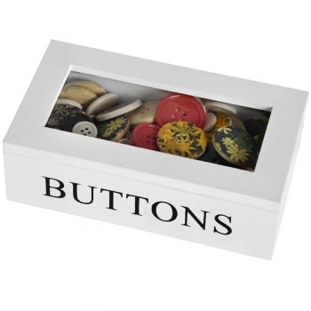 White Wooden Button Storage Box with Perspex Lid