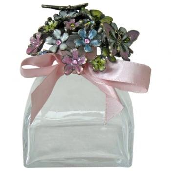 Flowers & Butterflies Enamel & Glass Perfume Bottle with Pink Bow