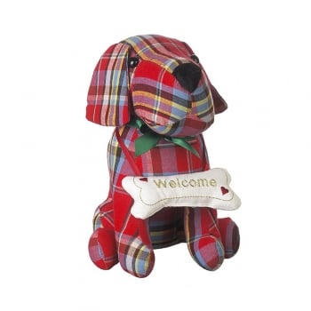 Heaven Sends Red Check Dog with a Bone Door Stop